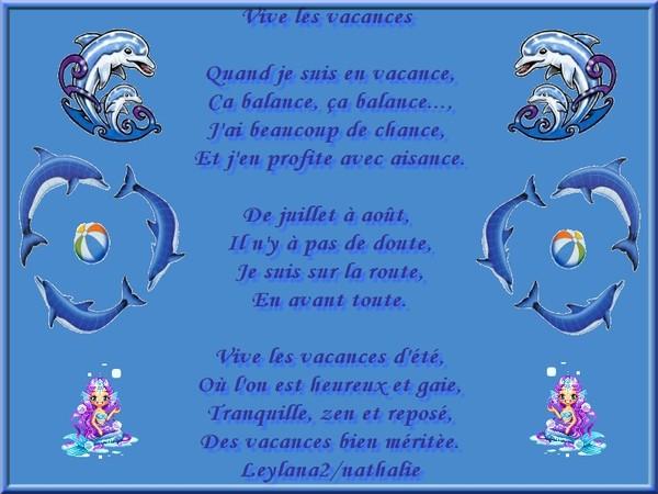 Fabulous LES VACANCES (mon poème) JP33